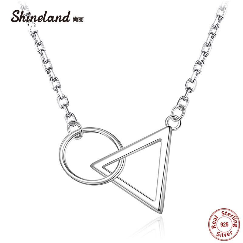 Shineland 925 Sterling Silver Simple Hollow Circle Triangles Necklaces & Pendants For Women Fashion Lady Choker Statement Bijoux