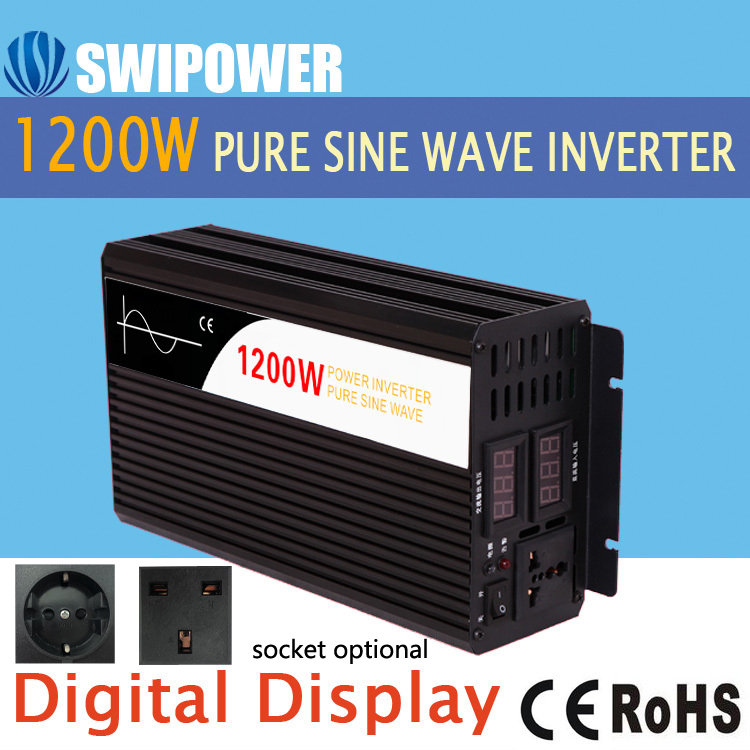 1200 W Pure Sinus Solar Power Inverter DC 12 V 24 V 48 V Naar AC 110 V 220 V Digitale Display