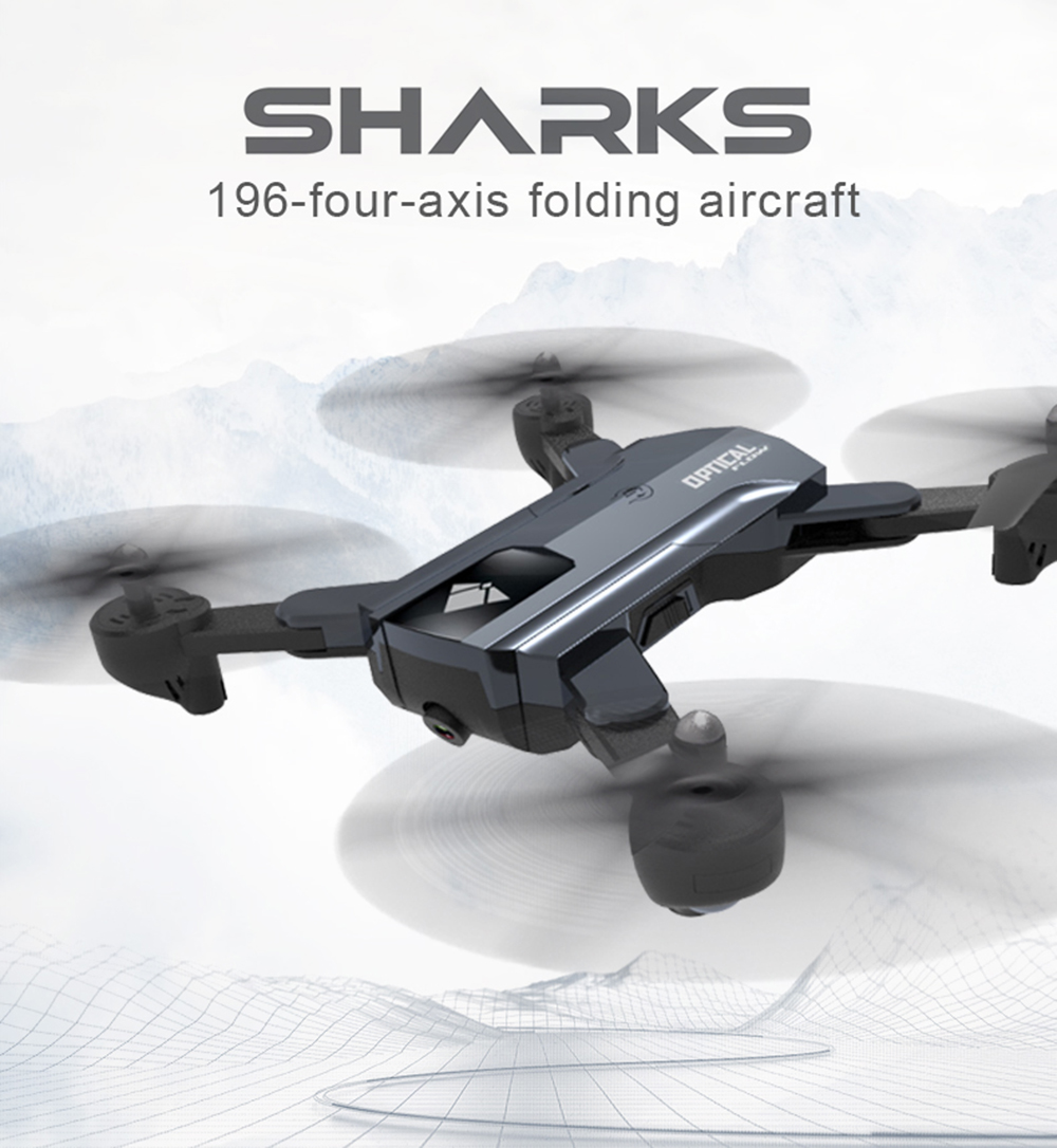 <font><b>F196</b></font> Foldable Drone with WiFi FPV 2MP HD Camera Optical Flow Dron Gesture Control 20mins Flight Time RC Quadcopter image