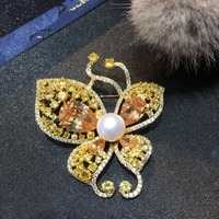 luxurious Freshwater Pearl Zircon Butterfly Brooches Pins Boutonniere Unisex Suits Dress Banquet Wedding Party Brooches Jewelry