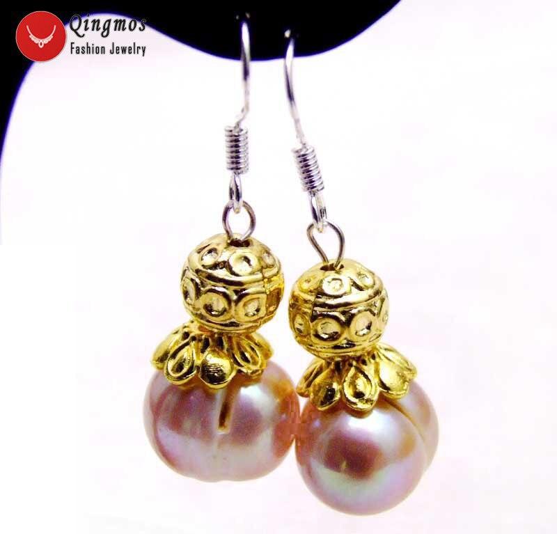 Qingmos Trendy Purple Dangle Pearl Earrings for Women 925 Sterling Silver Jewelry 10-11mm Purple Round Genuine Pearl Earring-440
