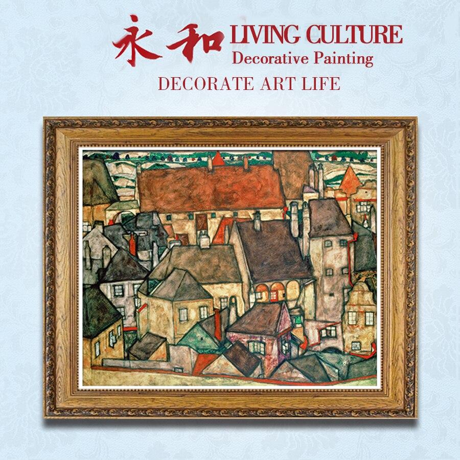 YongHe Western Oil Peinture Décorative Egon Schiele Ville Personnalisable Tailles Pulvérisation Peinture mur déco Sans Cadre d'encre Affiche