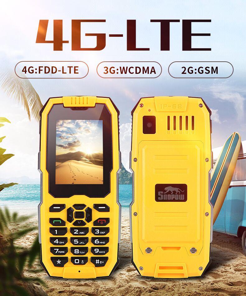 Original SNOPOW M2 Plus IP68 étanche antichoc Mobile vieil homme mini téléphone 2.4 pouces Android 6.0 WIFI FM GPS lampe de poche 4G LTE