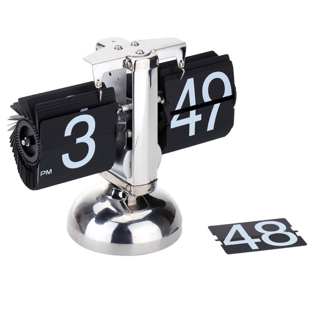 Kleine Skala Tisch Uhr Retro Flip Über Uhr Edelstahl Flip Interne Getriebe Betrieben Quarz Uhr Tisch Schreibtisch Uhr