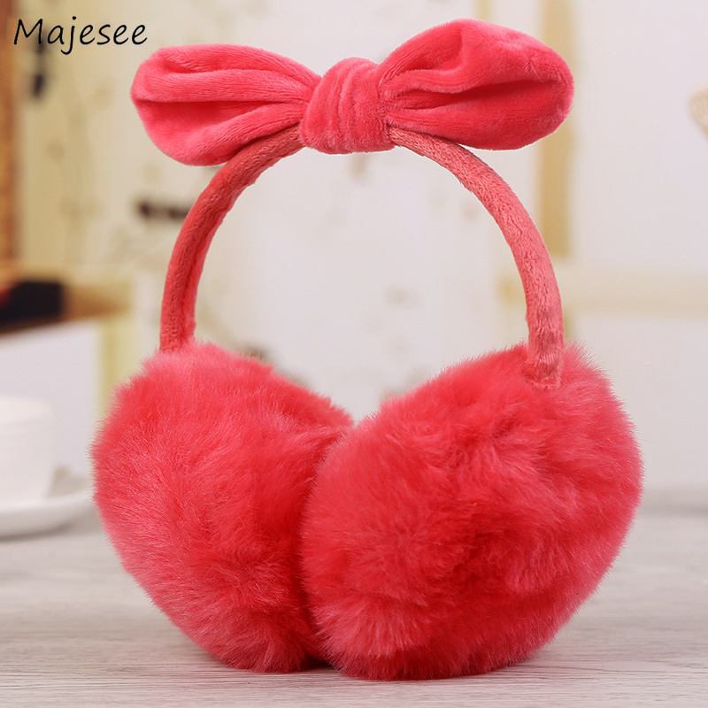 Earmuffs Women Winter Warm Solid Candy Color Sweet Bow Plush Womens Earmuff Korean Style All-match Simple Students Trendy Daily