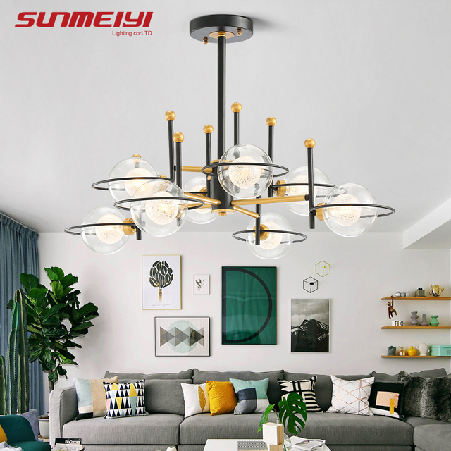 Modern Glass Ball LED Chandeliers For Living room Cafe lustre plafonnier Minimalist Bedroom Chandelier Lighting lampadario led