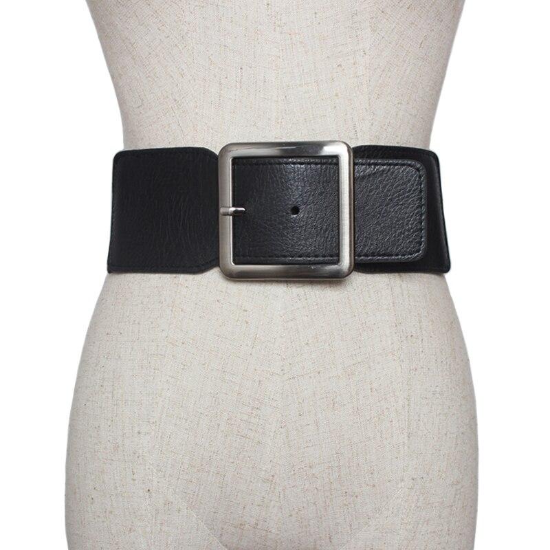 Belt Women 2018 Big Wide Metal Buckle PU Leather High Stretch Wide Waistband Waist Elastic Belt Ceinture Femme For Dresses