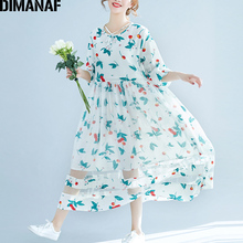 Dimanaf женское платье Длинные Плюс Размеры 2018 Весна с цветочным принтом вуаль Хем Женские Элегантные Леди Мода Vestidos пляжные свободные oversixed