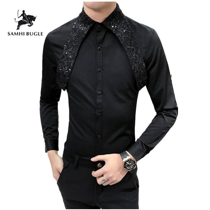 Evening Dress 2019 New Designer Wedding Shirts For Men Fashion Social Club Party Black White Dress Shirts Smoking Long Sleeve