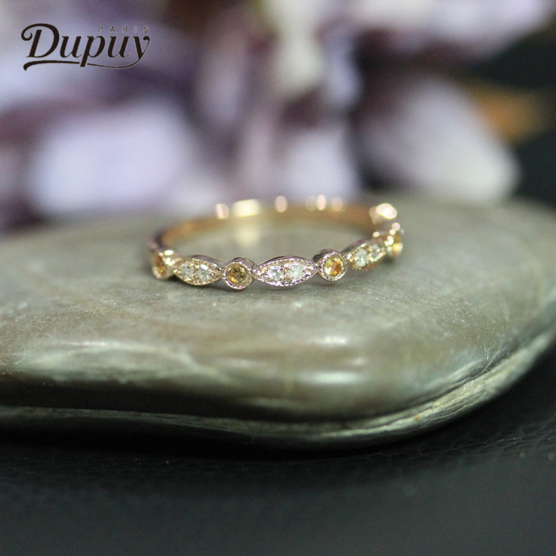 DUPUY New Citrine Gemstone Ring Brand Women Fashion Jewelry 14K Rose Gold Round Exquisite Diamond Engagement Ring D180171 exquisite gemstone embellished women s vivid alloy finger ring