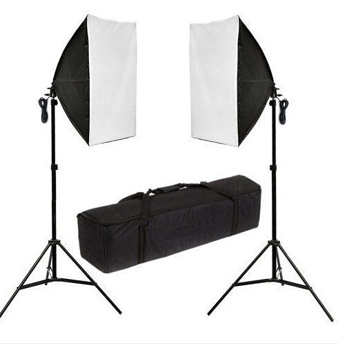 Photography Studio Set:2 x 135w 5500k Daylight Bulb&2x50cmx70cm Softbox with diffuser cover&2x 2m Light Tripod Stand&Carry Bag