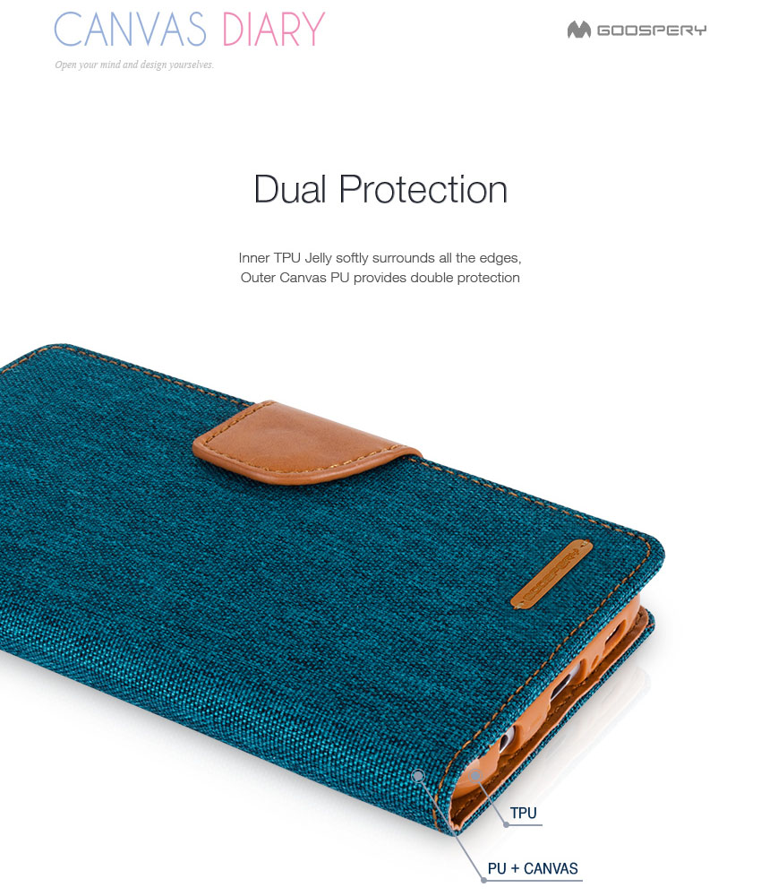 Original Mercury Goospery Canvas Diary Flip Cover Media Stand Card Samsung Galaxy Core 2 Case Navy S6 Detail Eng 5