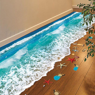 3D Sea Floor Sticker Ocean Waves Decals Vinyl Art Living Room Decor Kids Room Landscape Mural