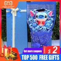 Carton Animals Stitch Bouquet Plush Stuffed Toys Artificial Kawaii Cartoon Fake Flowers Stitch Lilo Valentine's Day Gifts