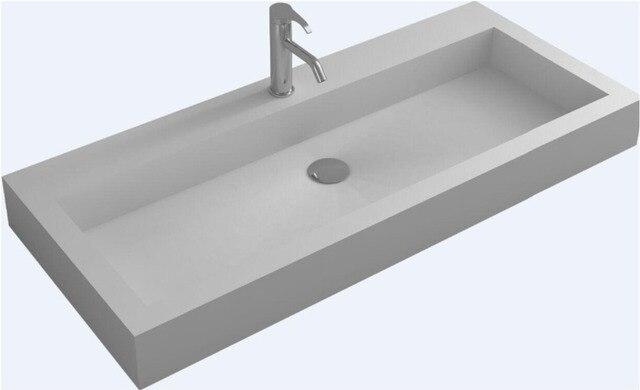 Gentil Corain Rectangular Wall Hung Vessel Wash Sink Matt Solid Surface Stone  Washbasin RS8888