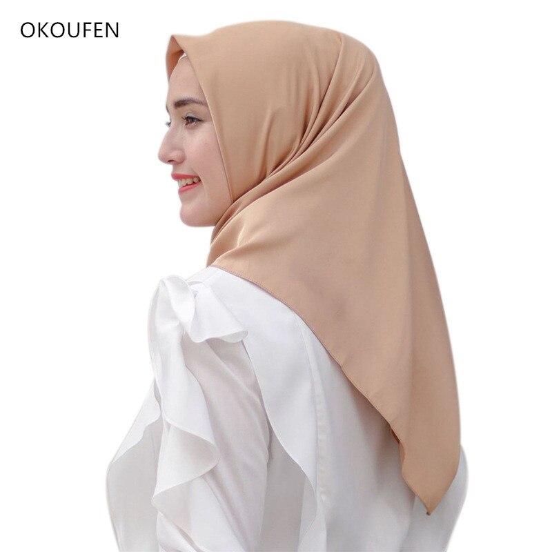110*110cm Women Silk Satin Scarf For Malaysia Muslim Lady Big Size Wedding Veil Hijab Shawls Headscarf Coverings Islamic Foulard