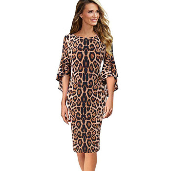 Womens Leopard Print sexy dress Elegant O-Neck Long Party Knee-Length Bell Sleeve Evening Party Sheath Dress vestidos mujer Платье