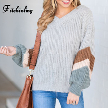 Fitshinling Casual New Women's Sweaters Winter Autumn Pullovers Knitwear Striped Long Sleeve Jumper Female V neck Grey Sweater grey casual high neck hollow drop shoulder jumper