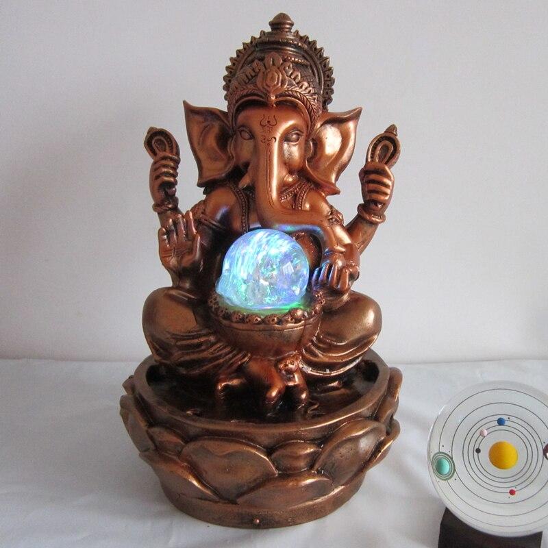 cm estatua de ganesha suerte fuente de agua rocalla arte de la resina decorativa creativa