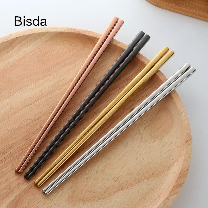 4 Farben Stäbchen Edelstahl 18/10 Japanischen Schwarz Sushi Hacken Stick Set Titanize chopsitcks Vergoldet Chop Sticks