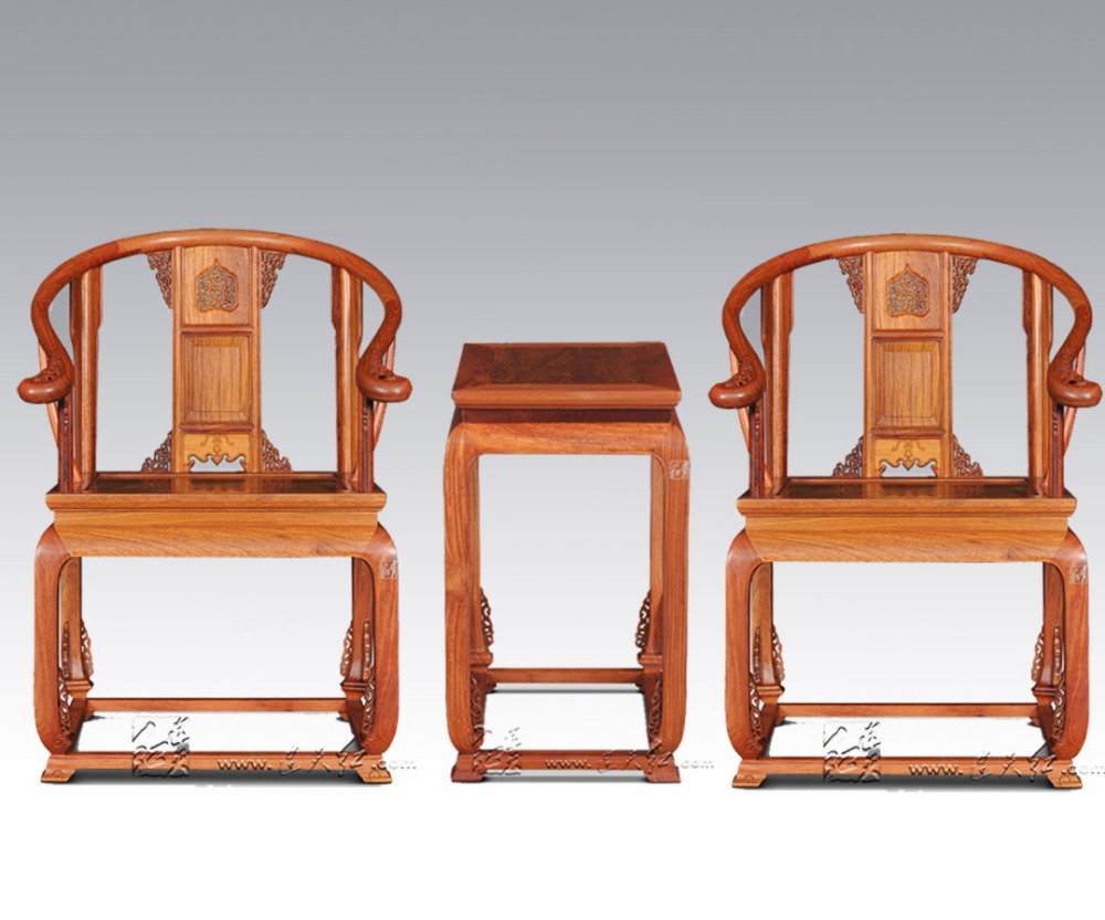 Retro Nostalgia Furniture Sets TWO Armchair and ONE Tea Table Solid Wood China Classical Living Room Coffee Desk Set Rosewood classical rosewood armchair backed china retro antique chair with handrails solid wood living dining room furniture factory set