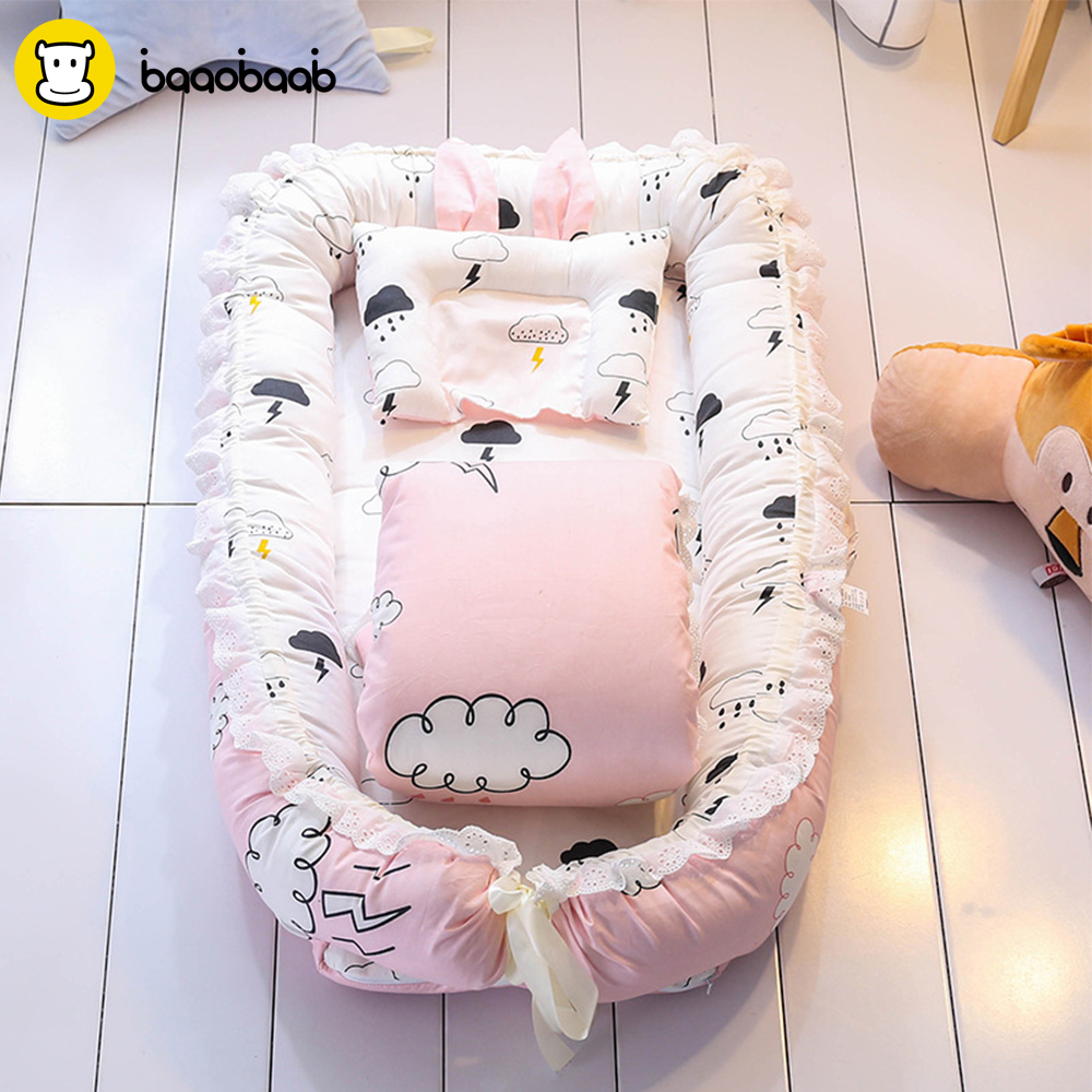 Baaobaab Fsc2 Baby Crib Sets With Quilt Pillow Pure Cotton Baby Nest Travel Crib Bed Cradle Cots For Newborns Portable Washable