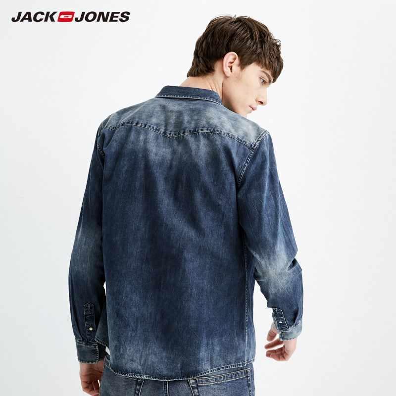 2a60e80791 ... JackJones Men Long Sleeve Denim Shirt Mens Casual Dress Male Jean Shirts  High Quality Street wearingJ ...
