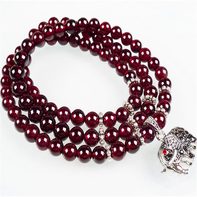 Fashion Stretch Bracelets For Women Natural Wine Red Garnet Crystal Quartz Round Bead DIY Charm Bracelet Femme Gift