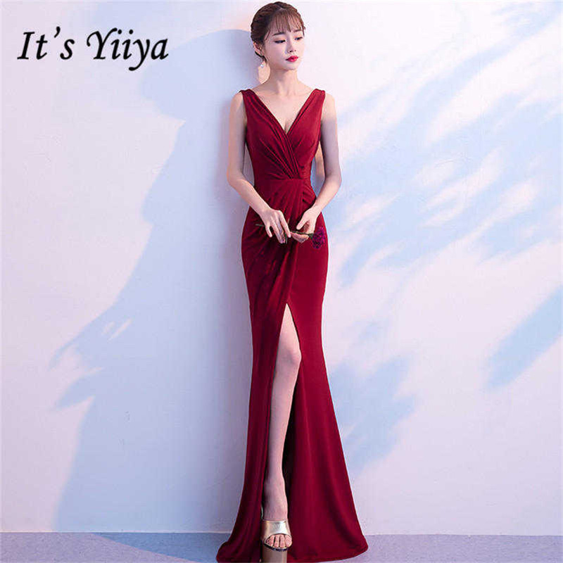 It's YiiYa Dark Red Trumpet   Evening     Dresses   V-neck Sleeveless Dinner Vestidos Sexy Split Party Gowns CQX003