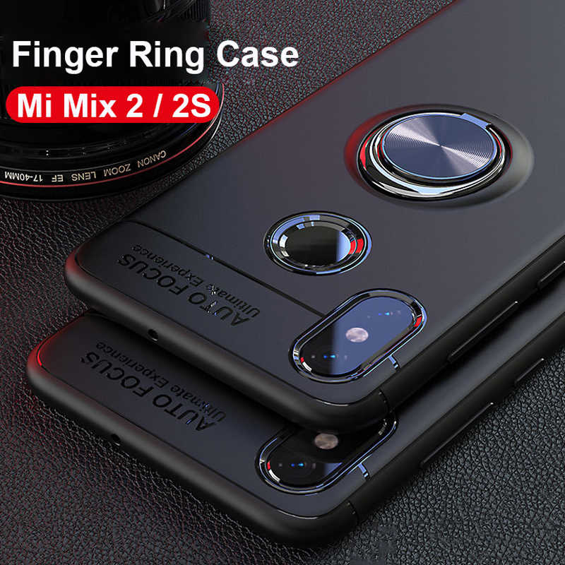New 2018 Finger Ring Stand Car Holder Case Xiaomi Mi Mix 2S / Mi Mix 2  Back Cover Silicone Case Xiaomi Mi Max 3 Pro Mi Max 2