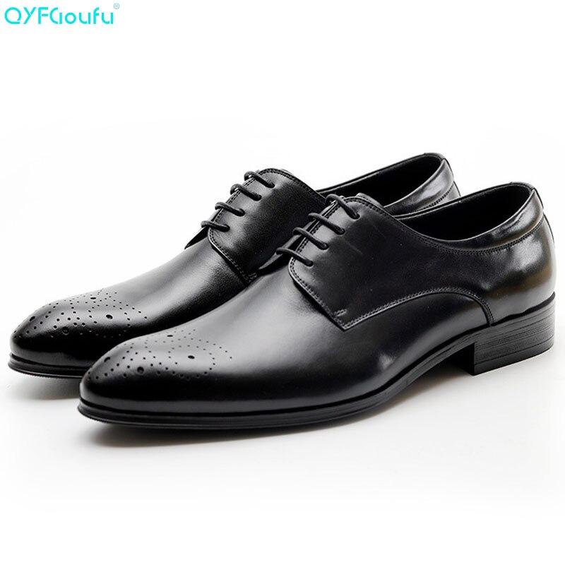 QYFCIOUFU nouveau véritable cuir de vache bout pointu italien hommes chaussure mode robe chaussures Oxfords noir rouge vin chaussures à lacets Vintage