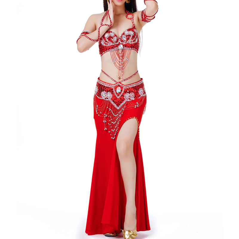 2018 Belly Dance Costume Set Women Sexy Clothes Sequined Beaded Bra And Belt Indian Costumes Stage Performance Dance Wear DN1928