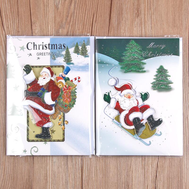 Music 3D Laser Cut Christmas Tree and Santa Claus Paper Card ...