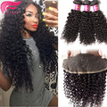 7а бразильский kinky вьющихся волос кружева фронтальная закрытие с пучками 4 шт./лот дешевые пучки человеческих волос кружева фасады с ребенком волос