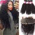 7a brazilian kinky curly hair lace frontal closure with bundles 4pcs/lot cheap human hair bundles lace frontals with baby hair