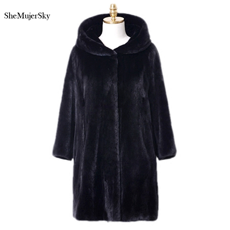 SheMujerSky Black Faux Fur Coat Winter Jacket Women fourrure pelliccia Long Furs Coats 2017