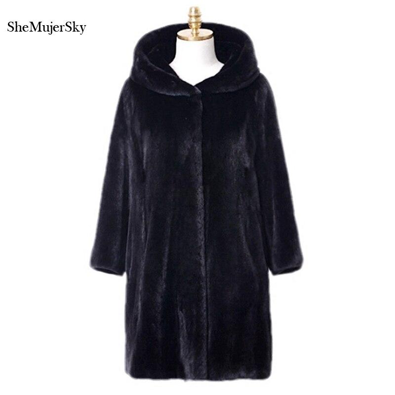 Fourrures Manteaux Black Fausse 2017 Manteau Noir Femmes Longues D'hiver Fourrure Veste Pelliccia Shemujersky z1OnW