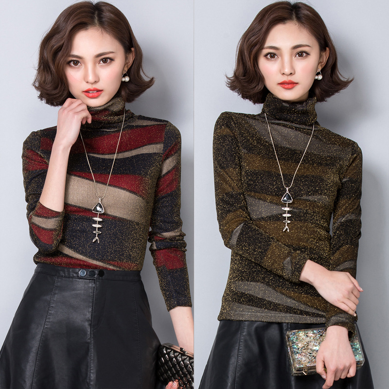 Fashion Women Long Sleeve Girls Blouse Shirt Women Tops Autumn Winter Lace Chic Turtleneck Blusas Ol Cool Turtleneck Blouses