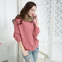 Winter Women Sweater Outerwear Batwing Sleeve Loose Sweater Raccoon Fur With A Hood Cardigan