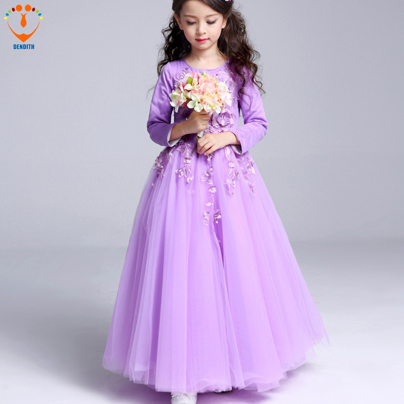 DENDITH 2018  Baby Girls Princess long sleeve lace Dress color purple  Girl Wedding Party Dress  for Kids Ball Gowns Children girls europe the united states children princess long sleeved purple lace flower dress female costume kids clothing bow purple