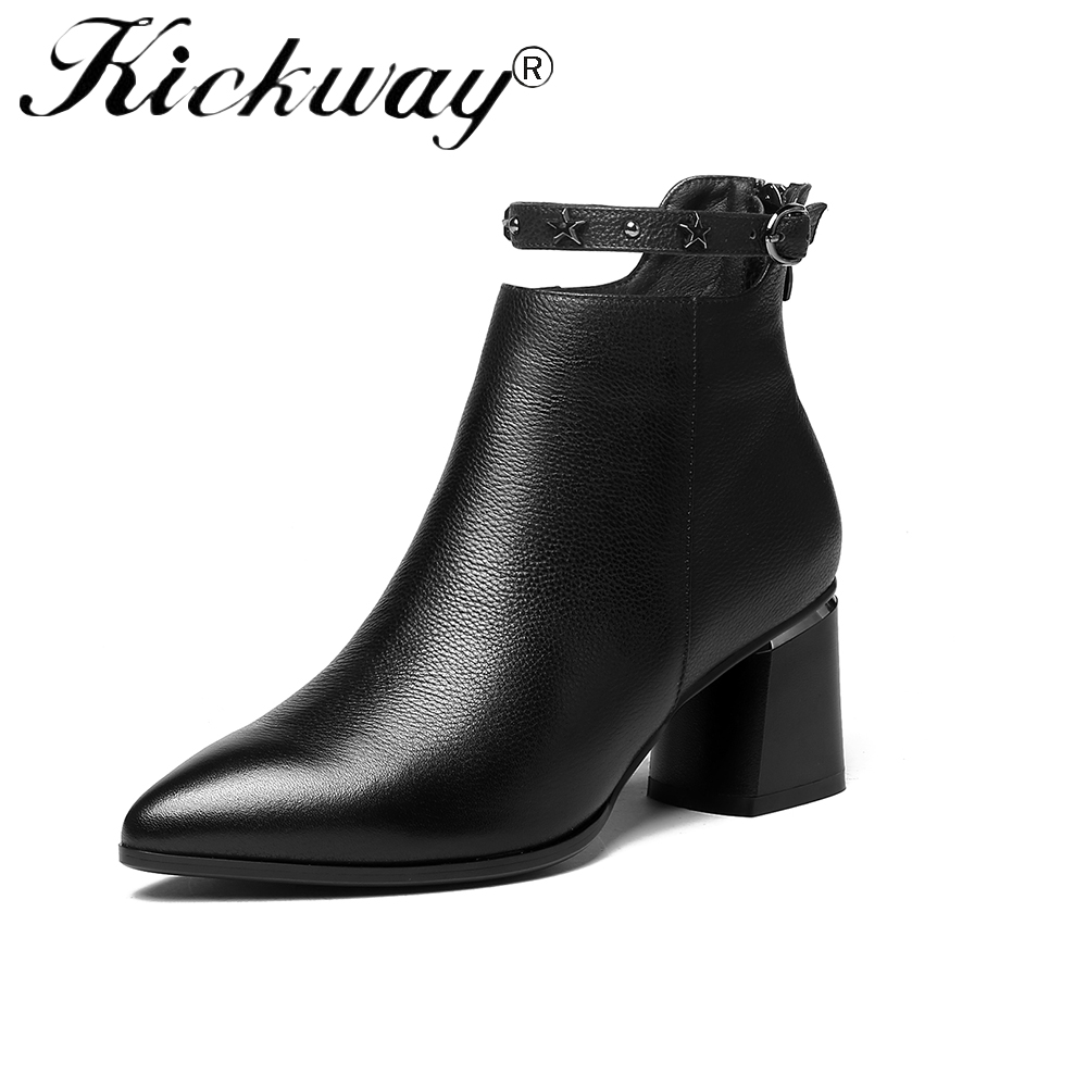 Kickway Women Boots High Heels Ankle Boots Fashion 2018 Autumn Chunky Heel Ladies Short Boots Shoes Female Shoes Plus Size 34-42 spring autumn women thick high heel mid calf boots platform woman short boots high heels shoes botas plus size 34 40 41 42 43