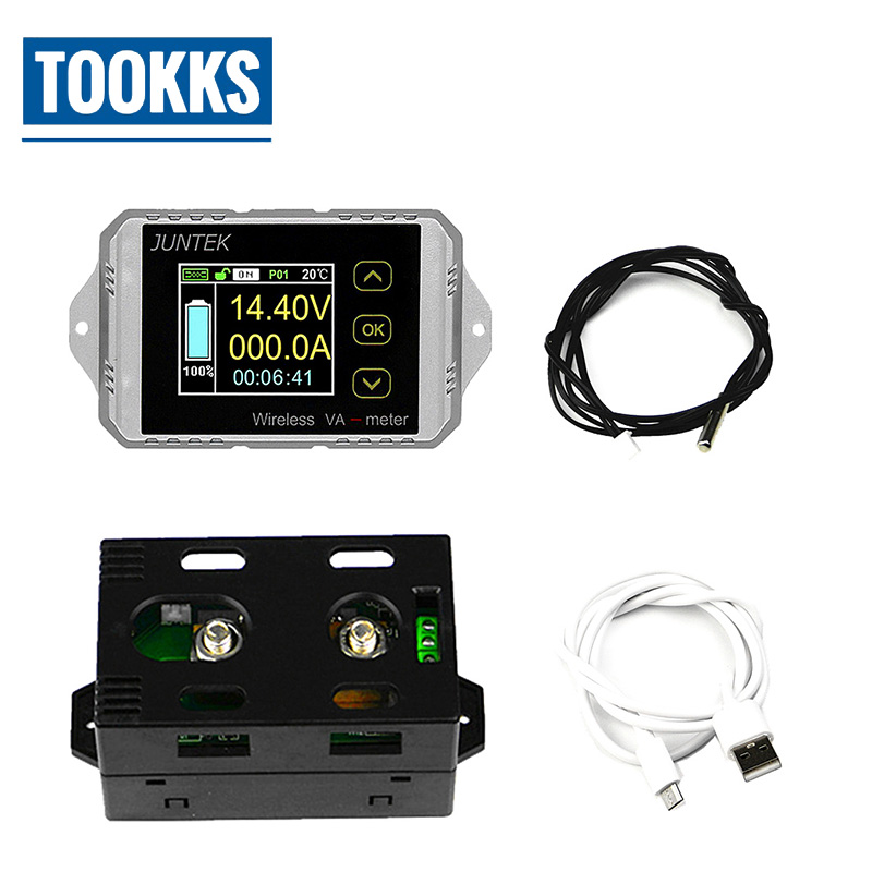 JUNTEK беспроводной цифровой измеритель напряжения тока Амперметр Вольтметр Емкость кулоновый счетчик постоянного тока 0,01 100 В 0,01 30A