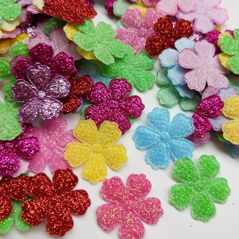 100PCS Mixed color Padded Mixed Color Cute Flower Felt Appliques for DIY Sewing Supplies kids craft accessorie