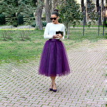 High Street Fashion Women Tulle Skirt 5 Layers Purple One Lining Puffy A-line Custom Made Tutu Elastic Satin Waist