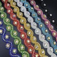 5Yards Rhinestone Trim Banding Fancy Bridal Dressbelt Trimming Crystal Applique Silver Rhinestones For Clothing Scrapbooking