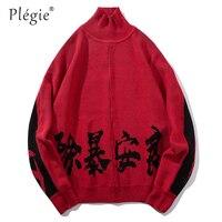 Plegie Chinese Letter Printing Men Turtleneck Sweaters Casual Pullover Sweater 2018 Unisex Hip Hop Long Sleeve Couple Streetwear