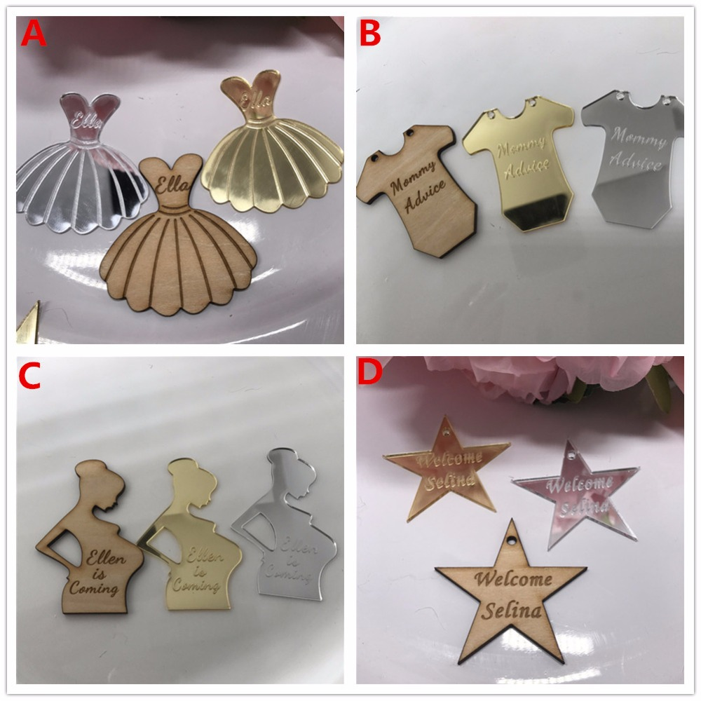 12pcs/lot Custom Birth Announcement Nursery Name Wooden Personalized Newborn Baptism Favor Baby Shower Table Decoration