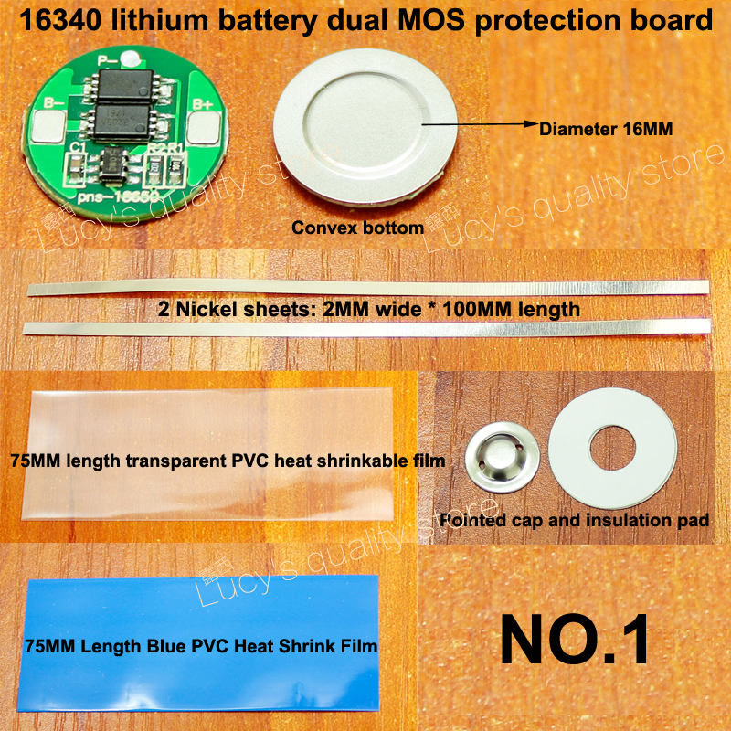 1set lot 16340 battery 4 2V protection board diameter 16MM lithium battery double MOS 16340 protection board set with nickel in Replacement Parts Accessories from Consumer Electronics