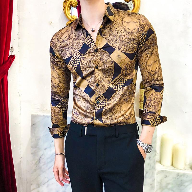 Luxury Golden Casual Shirt Men Long Sleeve Shirt Dress Slim Fit Tuxedo Shirts Male Fashion Streetwear Social Night Club Shirt