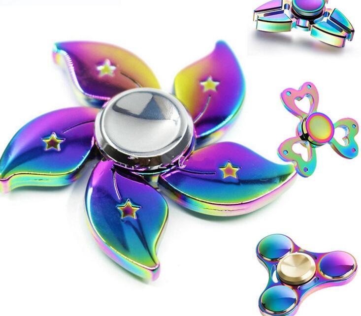 New Arrival Rainbow Bauhinia Flower Star Metal Fidget Spinner Hand Finger Gyro Tri spinner Stress model